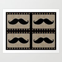 moustache Art Prints featuring Moustache by Mr and Mrs Quirynen