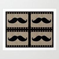 moustache Art Prints featuring Moustache by Mr & Mrs Quirynen