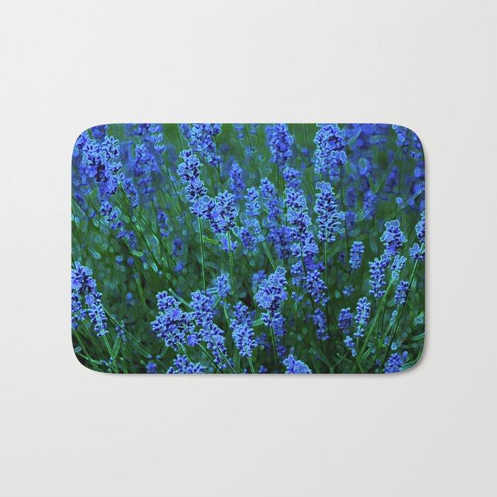 Glowing Blue Floral Bath Mat