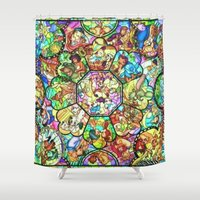 simba Shower Curtains featuring Mickey Mouse and Friends - Stained Glass Window Collage by DisPrints