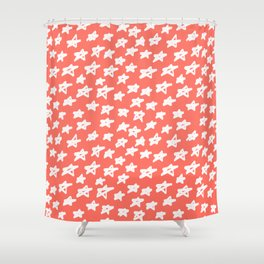 Stars Living Coral Shower Curtain