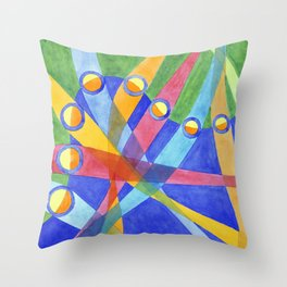 Mingling Colored Stripes Throw Pillow