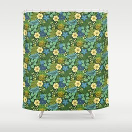 Tropical Blue and Yellow Floral Shower Curtain