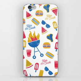 Summer BBQ Pattern - Blue Red Yellow iPhone Skin