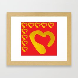 Gold Hearts on Red Framed Art Print