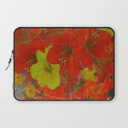 GRUNGY ANTIQUE RED FLORAL STILL LIFE BOUQUET Laptop Sleeve