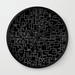 Circuitry - Abstract, geometric, black and white Wall Clock