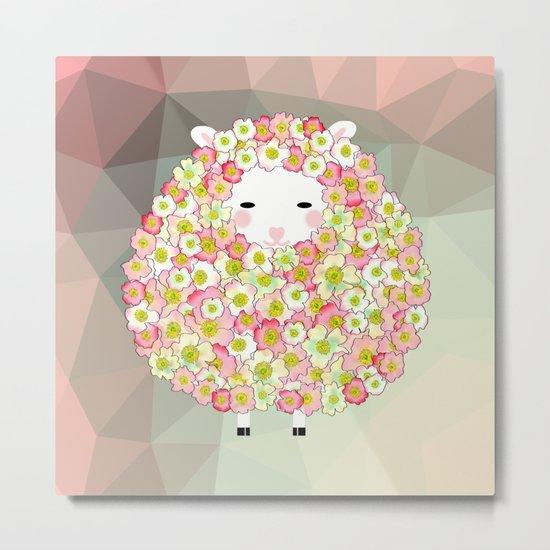 Pastel Tone Flowery Sheep Design Metal Print