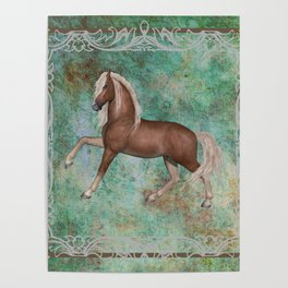 Horse On Green Brown Background With Border Poster