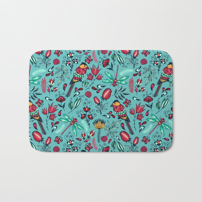 Birds and dragonflies blue pattern Bath Mat