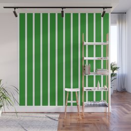 Vertical Lines (White/Forest Green) Wall Mural