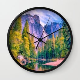 Mountain landscape with forest and river Wall Clock
