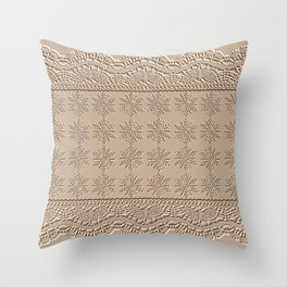 Lace and Stars in Coffee Color Chenille Pattern Throw Pillow