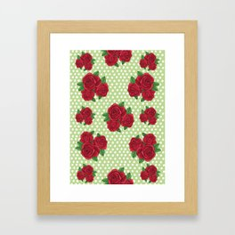 Roses and Polka Dots Framed Art Print