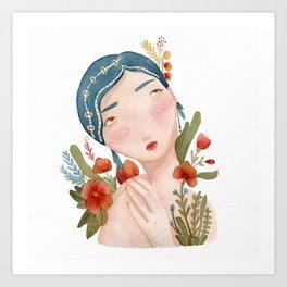 Blue Hair Girl  Art Print