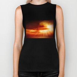 sunrise in the sea Biker Tank
