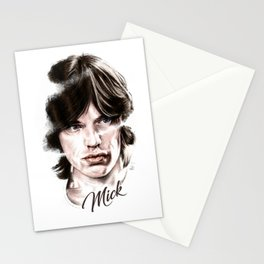 Mick portrait pencil and digital color, Rolling Stones portrait Stationery Cards