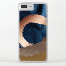 Navy Blue, Gold And Copper Abstract Art Clear iPhone Case