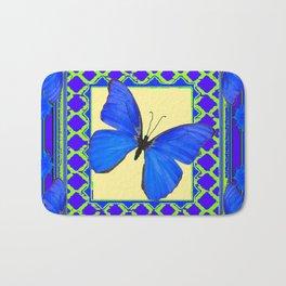 Decorative Sapphire Blue Butterflies Abstract & Yellow Bath Mat