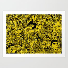 Yellow mashup Art Print