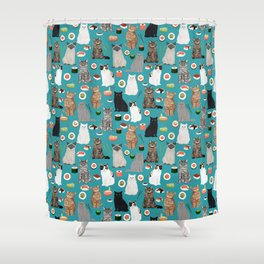 Cat Sushi pattern by pet friendly cute cat gifts for pet lovers foodies kitchen Shower Curtain