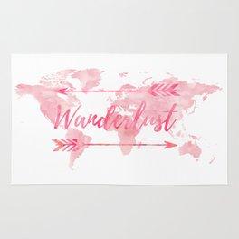 Wanderlust, pink watercolor, world map Rug