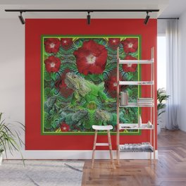 RED HIBISCUS FLOWERS & GREEN IGUANAS Wall Mural