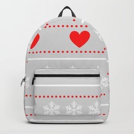 red heats snowflakes pattern Backpack