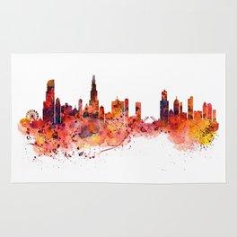 Chicago Watercolor Skyline Rug