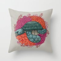 turtle Throw Pillows featuring Turtle by ErDavid