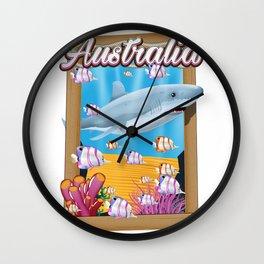 Australia Underwater shark travel poster Wall Clock
