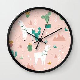 Llamas + Cacti on Pink Wall Clock