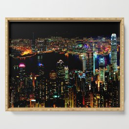 Hong Kong City Skyine Black Night Serving Tray