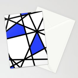 Geometric Modern triangles - white blue Stationery Cards
