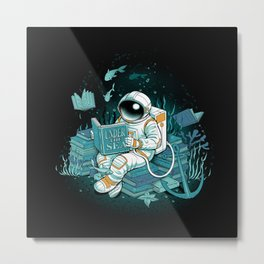 A reader lives a thousand lives - Cosmonaut Under The Sea Metal Print