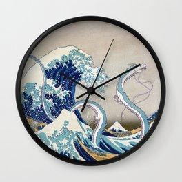 Haku and the Great Wave Wall Clock