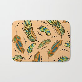 Southwest feathers with background color Bath Mat