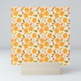 rustic country chic cute pretty spring summer orange yellow ditsy floral Mini Art Print