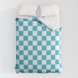 Gingham Vivid Arctic Blue Checked Pattern Comforters