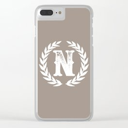 Beige Monogram: Letter N Clear iPhone Case