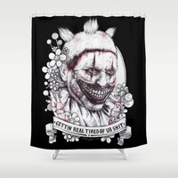 ahs Shower Curtains featuring xoxo Twisty by marziiporn