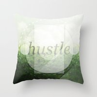 hustle Throw Pillows featuring Hustle by beardasaurus