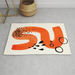 Mid Century Modern abstract Minimalist Fun Colorful Shapes Patterns Orange Brush Stroke Watercolor Rug