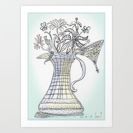 Pitcher with Flowering Plants Art Print