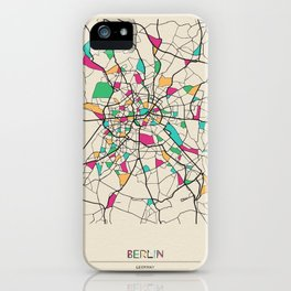 Colorful City Maps: Berlin, Germany iPhone Case