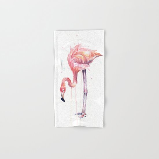 Flamingo Watercolor Painting Art | Facing Left Hand & Bath Towel