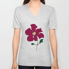 sketch of a red flower Unisex V-Neck