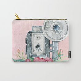 Vintage Flash Camera - Old Paparazzi in Watercolor Carry-All Pouch