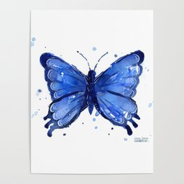 Butterfly Blue Watercolor Animal Painting Poster