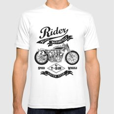 Rider White MEDIUM Mens Fitted Tee